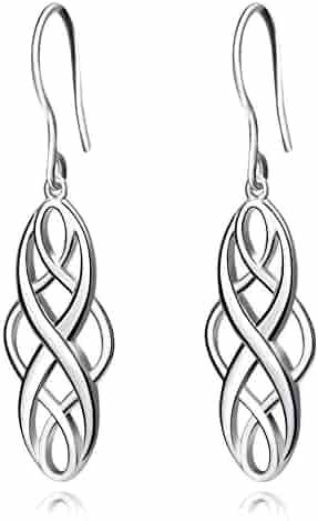 Celtic Knot Dangle Earrings 925 Sterling Silver Polished Good Luck Irish Celtic Knot Vintage Dangles for Women,Girls