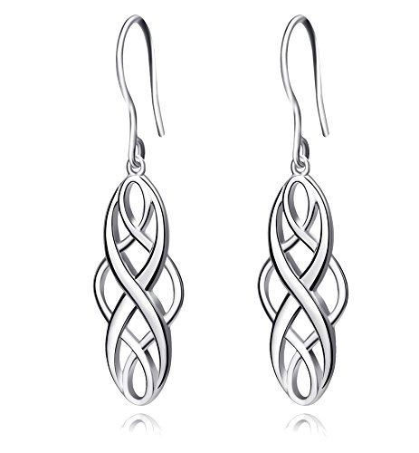 S925 Silver Earrings Solid Sterling Silver Polished Good Luck Irish Celtic Knot Vintage Dangles (Platinum) ()