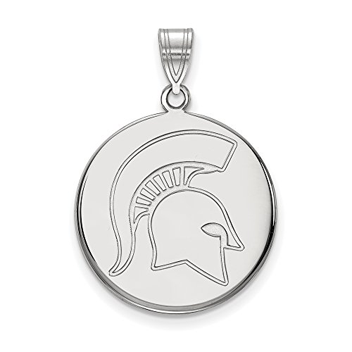 Michigan State Large (3/4 Inch) Disc Pendant (10k White Gold) by LogoArt