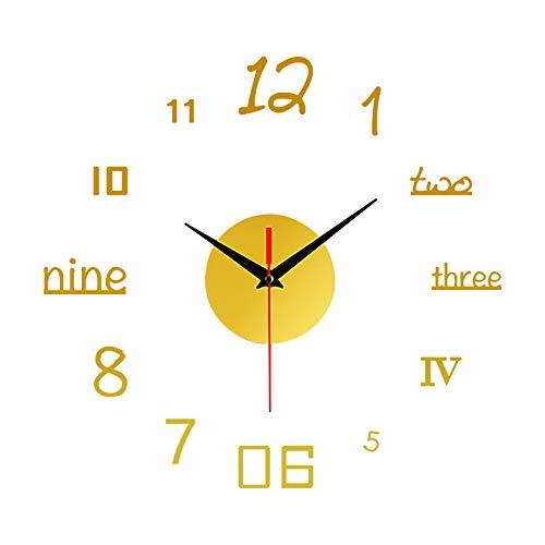 Wall Sticker Wall Clock, Frameless DIY Wall Mute Clock 39D Mirror Surface Sticker Home Office Decoration,Yellow-9