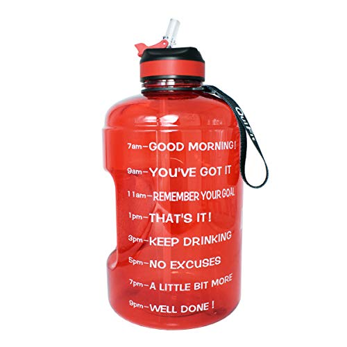 BuildLife Gallon Motivational Water Bottle with Time Marked to Drink More Daily and Nozzle,BPA Free Reusable Gym Sports Outdoor Drinking Large(128OZ) Capacity Water Jug (Red, 1 Gallon) ()
