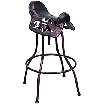 DecentHome Industrial Metal Rivet Adjustable Saddle Design Seat Bar Stool  (Antique Bronze)