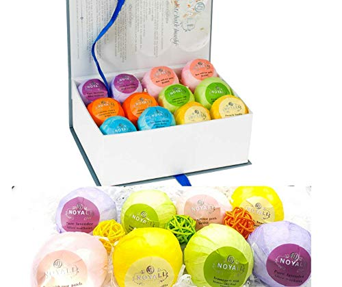 Noyali 12 Spa Bath Bombs Set- Premium Lush bath bombs Luxurious Handmade – 6 Each 3.5 & 4 Oz. – 100% Natural Ingredients, Rich Fragrances, Essential Oils, Pure White in Designer Packaging by noyali