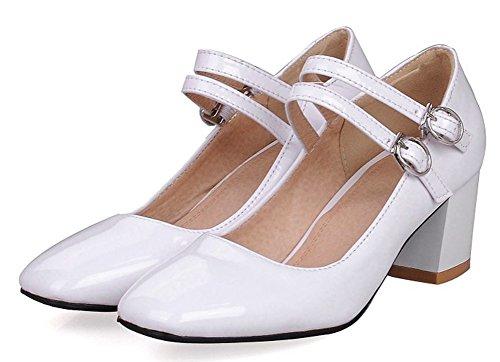 Aisun Donna Moda Low Cut Con Fibbia Brunito Dressy Square Toe Mid Block Tacchi Pumps Scarpe Con Cinturino Alla Caviglia Bianco