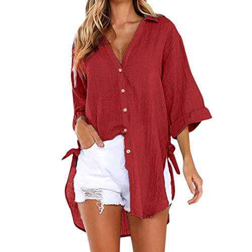 - Women Loose Button Long Sleeve Shirt Dress Cotton Linen Blouse Casual Solid Top (XL, Red)