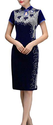 Midi Bordano Vestito Donne Cromoncent Che Cheongsam Epoca Qipao Partito Velluto Blue3 Sottile vfw8fxq