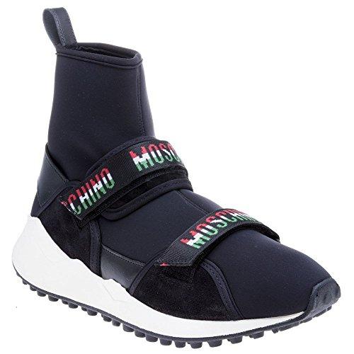 Moschino Velcro Strap High Top Herren Sneaker Schwarz Schwarz