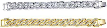 メンズブレスレット、亜鉛合金の幾何学的なブレスレットメッキカラー保護キューバチェーン、クラシックな洗練された男性の誕生日プレゼント