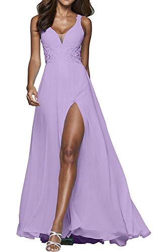 Flieder Brautmutterkleider Kleider Abschlussballkleider Jugendweihe V Braut Sexy Blau Ausschnitt Tief Abendkleider Marie La qO8vw7O