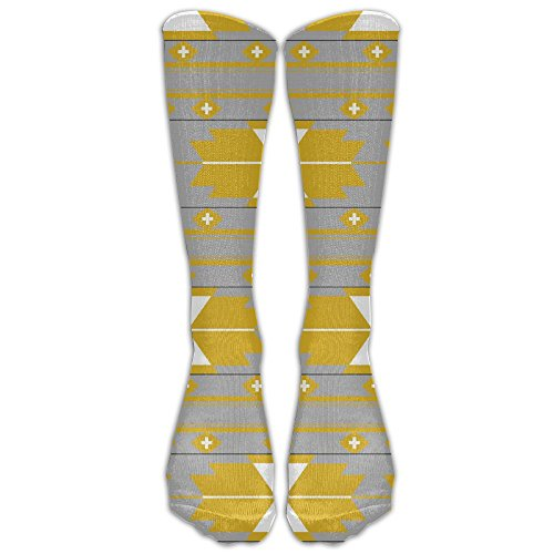 Yellow Gray Kilim Unisex Knee High Tube Socks Fancy Print Casual Boot Socks Long Sports Stocking (Kilim Boots)