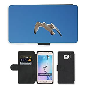 PU LEATHER case coque housse smartphone Flip bag Cover protection // M00133407 Pájaro Gaviota Cielo Azul Cielo // Samsung Galaxy S6 (Not Fits S6 EDGE)