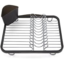 Umbra Sinkin Dish Drying Rack – Dish Drainer Caddy with Removable Cutlery Holder Fits in Sink or on Countertop, Black & Smoke