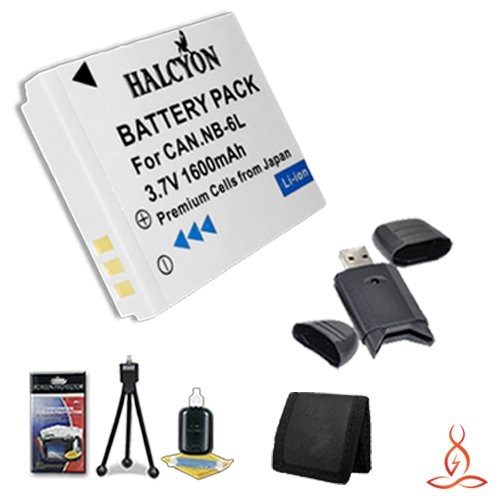 Halcyon 1600 mAH Lithium Ion Replacement NB-6L Battery + Memory Card Wallet + SDHC Card USB Reader + Deluxe Starter Kit for Canon Power Shot SX170 IS Point-and-Shoot Camera and Canon NB-6L by Halcyon