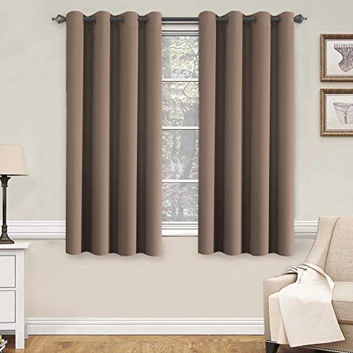 H.VERSAILTEX Blackout Room Darkening Curtains Window Panel Drapes - (Warm Taupe Color) 2 Panels, 52 inch Wide by 63 inch Long Each Panel, 8 Grommets/Rings per Panel (Window Panel Taupe)