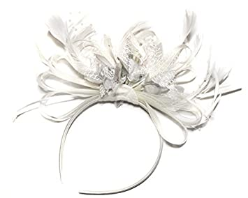 Amazon.com  White and Silver Net Hoop Feather Hair Fascinator ... c6de62a385a