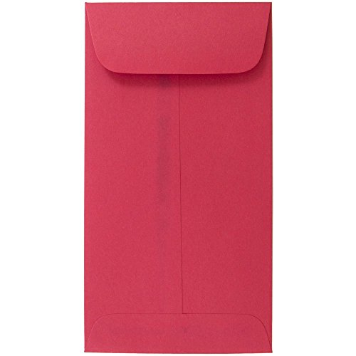 "JAM Paper #7 Coin Envelope - 3 1/2"" x 6 1/2"" - Brite Hue Red - 25/pack"