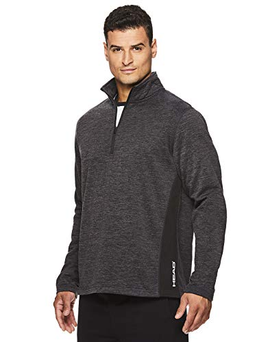 (HEAD Men's 1/4 Zip Up Activewear Pullover Jacket - Long Sleeve Running & Workout Sweater - Warm Up Black Heather, X-Large)