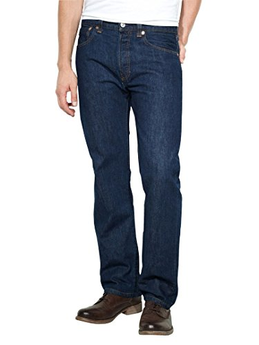 French Designer Dresses - Levi's Mens 501 Regular Straight-Leg Denim Jeans Blue Size 32 Length 32