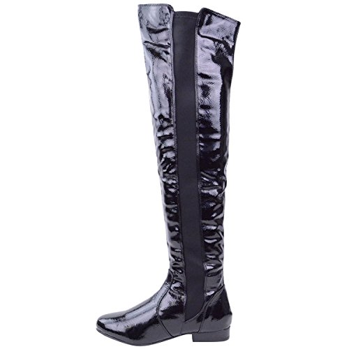 LADIES WOMENS ELASTICATED WIDE LEG CALF STRETCH OVER KNEE THIGH HIGH FLAT RIDING BIKER BOOTS SHOES SIZE Black Patent CFpT5d