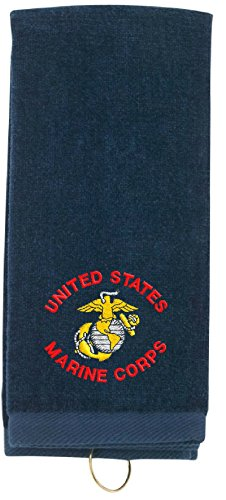 Spiffy Custom Gifts US Marine Corps Embroidered Tri-Fold Sports Towel w/Hook (Blue Embroidered Velour Golf Towel)