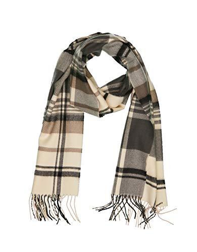INVERNO Super Soft Luxurious Cashmere Feel Warm Winter Pattern Design Unisex Scarf (Cream Brown Gray Plaid)