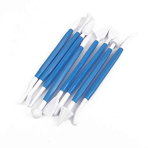 Potelin Cake Decorating Tools Cream Double-Ended Carving Knife with 8 Different Shapes Sculpting Pen Set for DIY Cakes Fondant Modeling Candy Pottery (Blue)