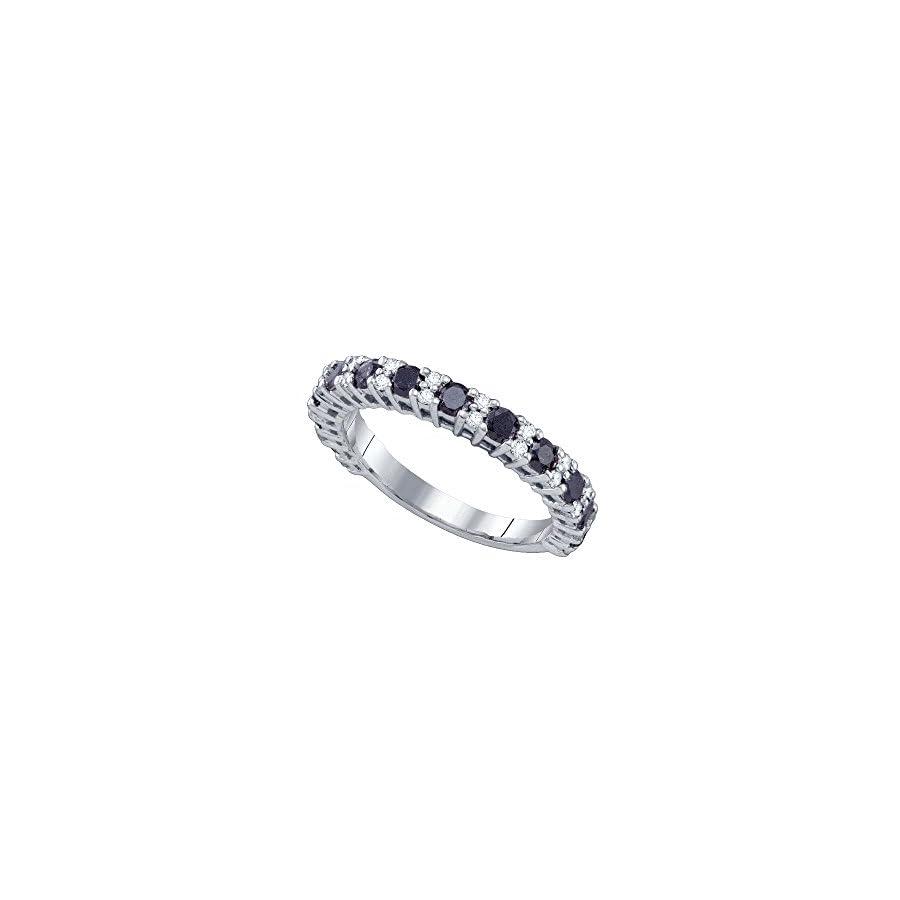 Sonia Jewels 10k White Gold Round Black Diamond Band Wedding Anniversary Ring 1.00 Cttw