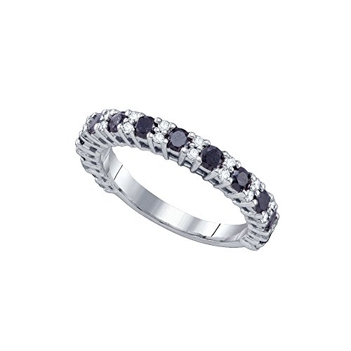 10k White Gold Round Black Diamond Band Wedding Anniversary Ring 1.00 Cttw