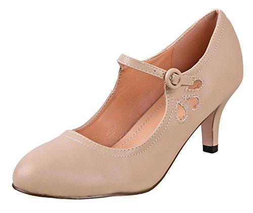 Chase & Chloe Women's Kimmy-21 Regular |Mary Jane | Mid Heel Shoes | Nude Low 6.5 ()