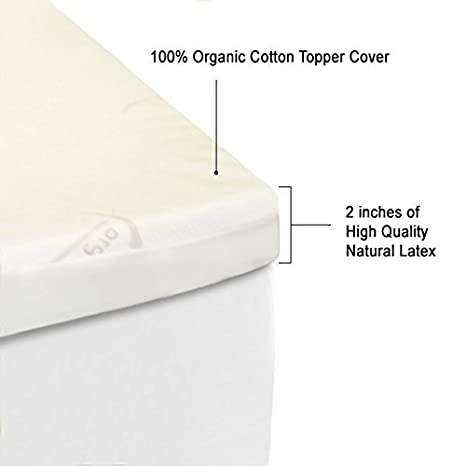 Amazon.com: All Natural Latex Non Blended FIRM Mattress Topper 2 ...