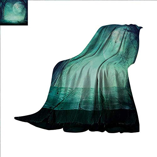Halloween Weave Pattern Extra Long Blanket Spooky Teal Forest Moon and Vain Branches Mystical Haunted Horror Rustic Imagery Print Custom Design Cozy Flannel Blanket 90 x 70 inch Teal ()