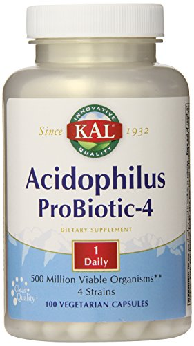 KAL acidophilus 500 millions d'organismes viables probiotiques-quatre capsules, 100 comte