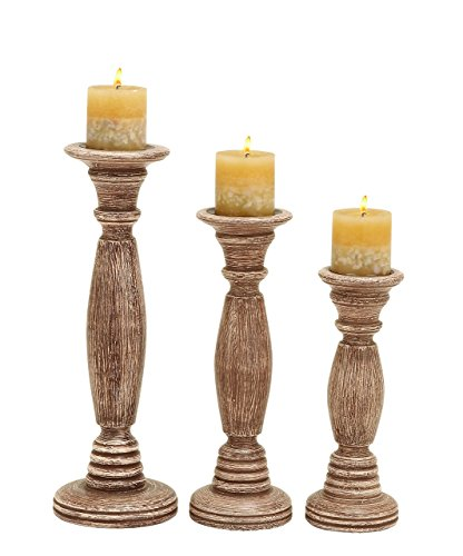 Deco 79 Wooden Candle Holder, Brownish Rustic Finish, Set of