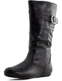 Girls Faux Leather Zipper/Buckle Mid Calf Boots (Toddler/Little Kid)