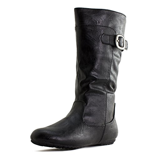 Generation19 Girls Faux Leather Zipper/Buckle Mid Calf Boots (Toddler/Little Kid)