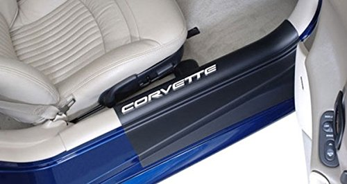 Corvette Door Sill Ease Protectors : 1997-2004 C5 & Z06 (Black w/ White Letters)