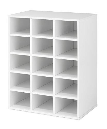 Whitmor Stackable 15-Cubby Storage Organizer, White