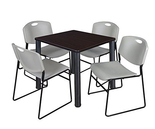 "Kee 30"" Square Breakroom Table- Mocha Walnut/ Black & 4 Zeng Stack Chairs- Grey"