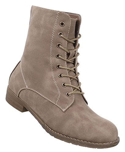 Damen Schuhe Stiefeletten Schnürer Boots Used Optik Modell Nr.1 Hellbraun