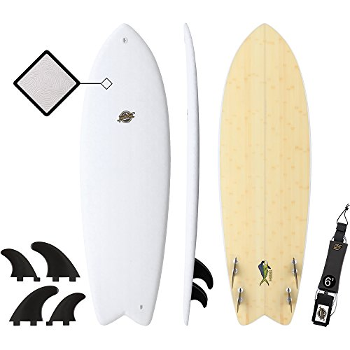 Gold Coast Surfboards - 5'8 Hybrid Soft Top Surfboard -The Mahi -No Wax Needed Soft Foam Surfboard Deck, Rubber Logo, GoPro Mount + Bamboo Bottom Deck - Fish Shape Surfboard ()