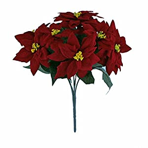 FloristryWarehouse Artificial Poinsettia Bunch Red Velvet 7 Stem 12 inches 14