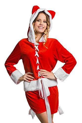 Adult Women Miss Santa Girl Hooded Costume Mrs Claus Role Play Christmas Dress Up (Small/Medium, Red, White)