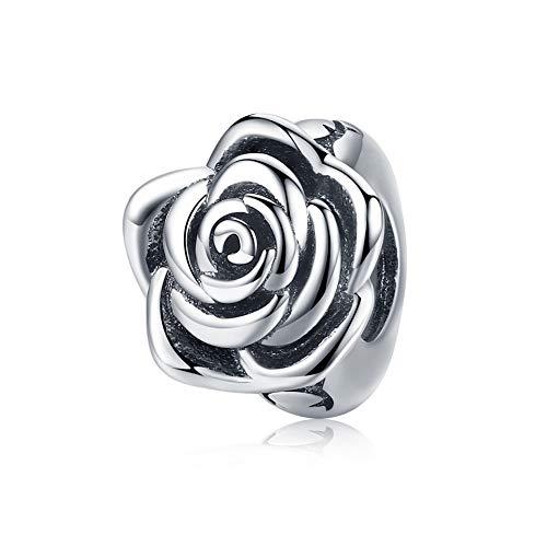 BAMOER 925 Sterling Silver Rose Flower Buds Charm for Women Bracelets DIY Valentine's Day Jewelry - Rose Silver Flower Charm