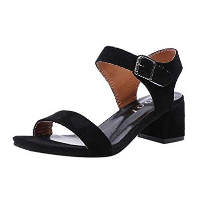 Lurryly Fashion Women Sandals Belt Buckle Slippers High-Heel Open Toe Casual Beach Shoes