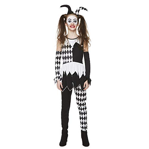 Girl's Black Jester Costume for Halloween Costume Party Accessory, Large]()