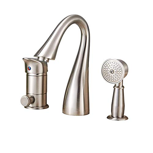 (Saeuwtowy Brass Bathtub Faucet/Tap Waterfall Three Holes Shower and Bathtub Faucet Brushed Nickel Bathtub Faucet Set Single Knobs with Handheld Shower Bathtub Faucet and Shower Set)