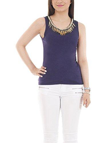 SnobUK Nueva mujer Sexy Flowy blusa Tops sin mangas Dimonte daga chaleco Top camiseta Azul azul