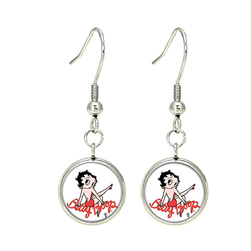 Betty Boop Dangle Earrings TV Movies Classic Cartoons Superhero Logo Theme Premium Quality Detailed Cosplay Jewelry Gift Series