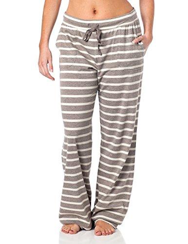 Womens Drawstring Lounge Pant StripedGrey M