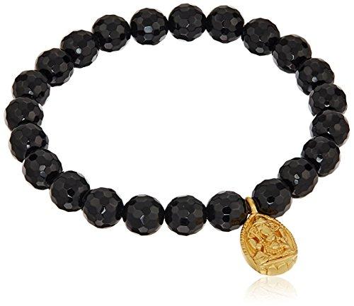 Satya Jewelry 8mm Black Onyx Gold Ganesha Stretch Bracelet